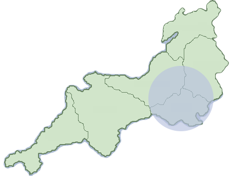 Map showing the areas of Dorset, Somerset and Wiltshire where Matt Chant operates